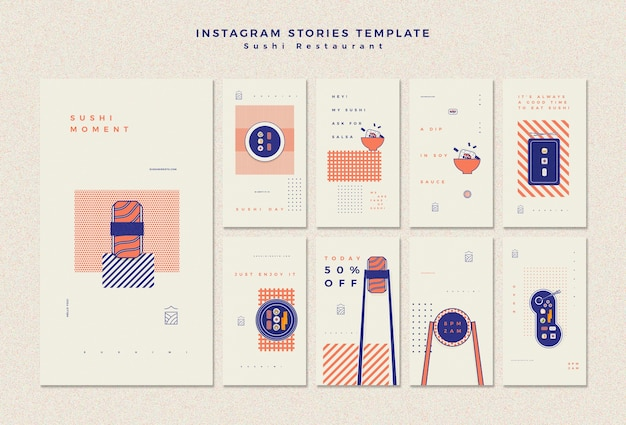 Modelo de histórias do instagram com restaurante de sushi