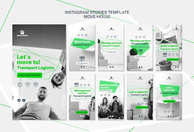 Modelo de histórias do instagram com serviço de mudança