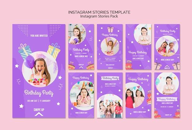 Modelo de histórias do instagram com tema de convite de aniversário