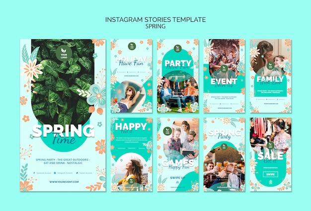 Modelo de histórias do instagram com tema de primavera