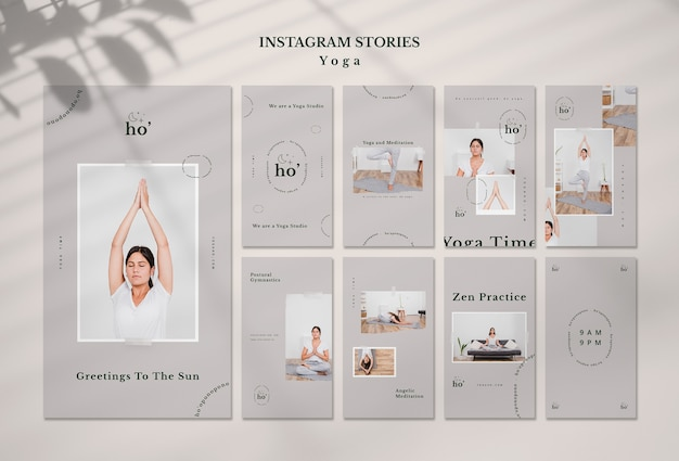 Modelo de histórias do instagram com yoga