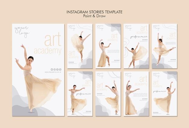 Modelo de histórias do instagram da academia de arte