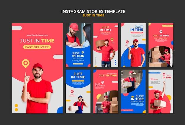 Modelo de histórias do instagram da empresa de entrega