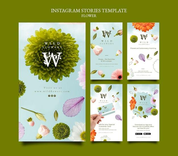 Modelo de histórias do instagram da flowershop