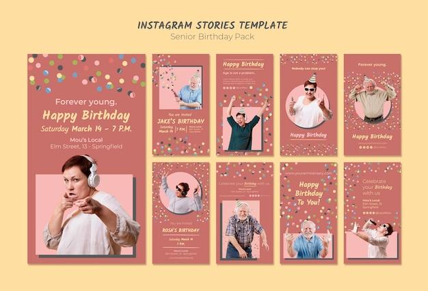 Modelo de histórias do instagram de aniversário sênior