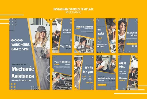 Modelo de histórias do instagram de assistência mecânica