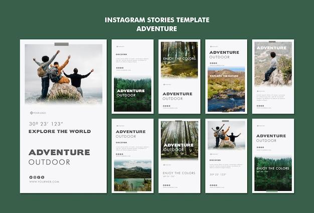 Modelo de histórias do instagram de aventura