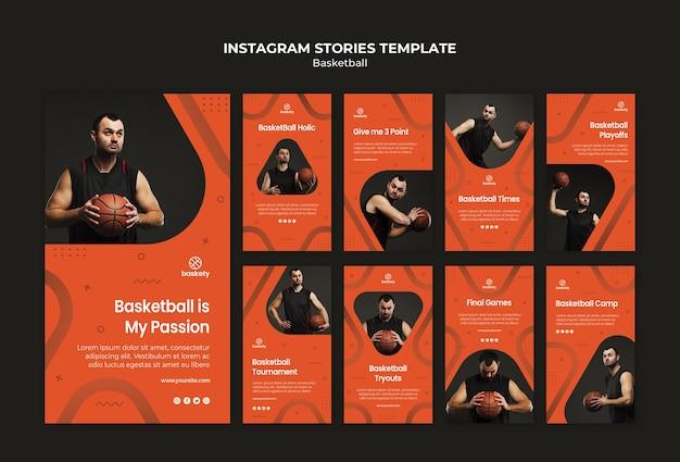 Modelo de histórias do instagram de basquete