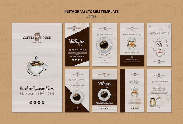 Modelo de histórias do instagram de cafeteria