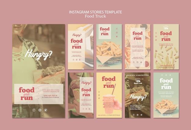 Modelo de histórias do instagram de caminhão de comida