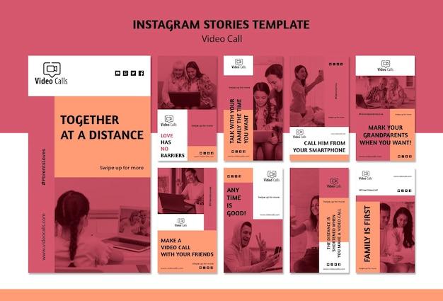 Modelo de histórias do instagram de chamada de vídeo