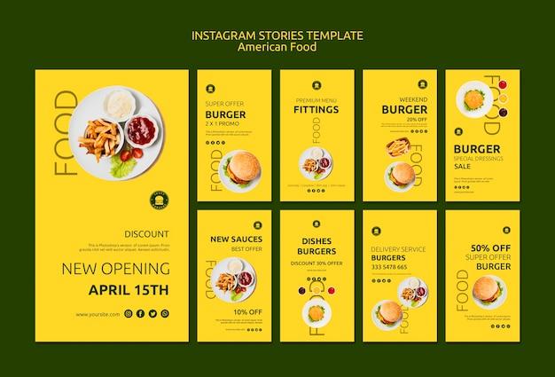 Modelo de histórias do instagram de comida americana