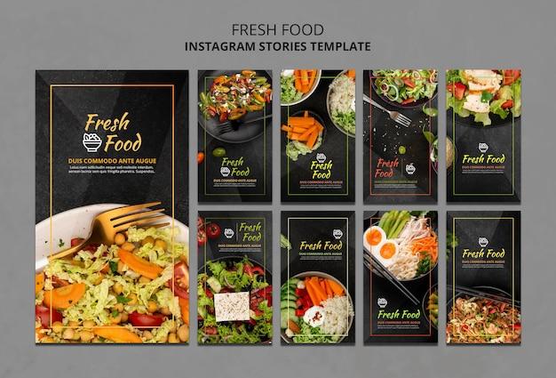 Modelo de histórias do instagram de comida fresca