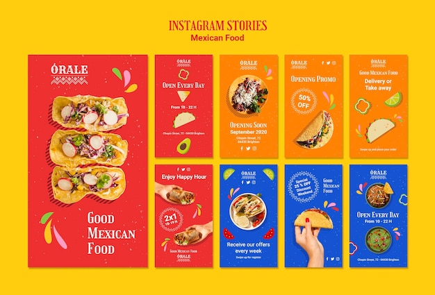 Modelo de histórias do instagram de comida mexicana