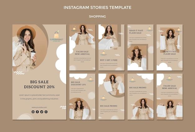 Modelo de histórias do instagram de compras