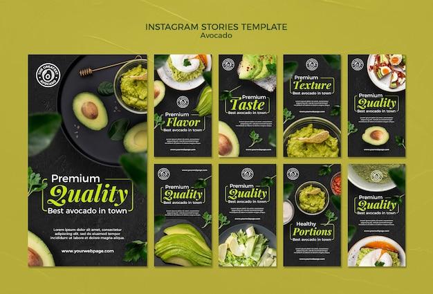 Modelo de histórias do instagram de conceito de abacate