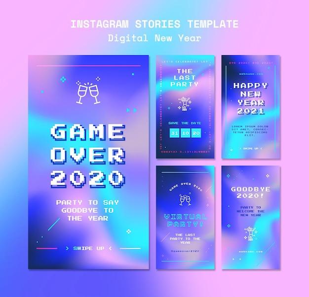 Modelo de histórias do instagram de conceito de ano novo