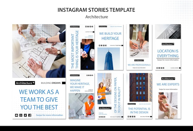 Modelo de histórias do instagram de conceito de arquitetura