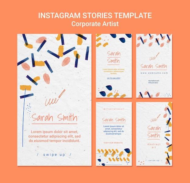 Modelo de histórias do instagram de conceito de artista corporativo