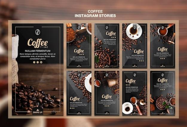 Modelo de histórias do instagram de conceito de café