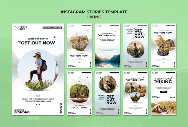 Modelo de histórias do instagram de conceito de caminhadas