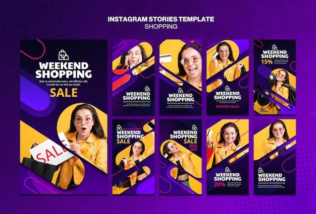 Modelo de histórias do instagram de conceito de compras