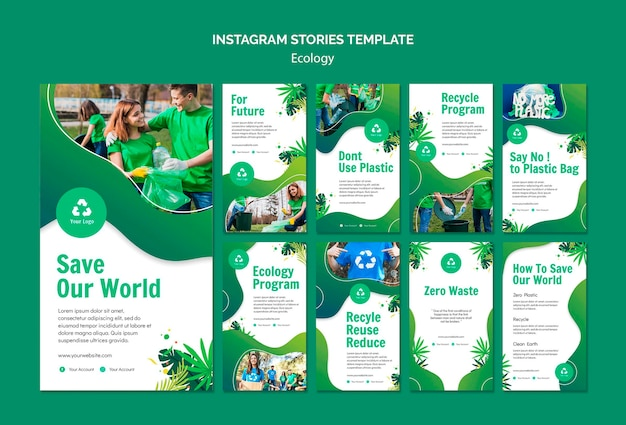 Modelo de histórias do instagram de conceito de ecologia