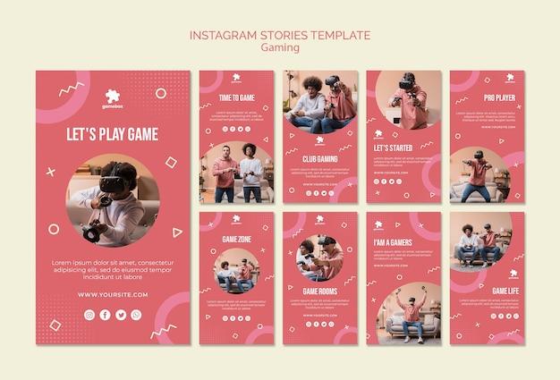 Modelo de histórias do instagram de conceito de jogos