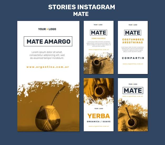 Modelo de histórias do instagram de conceito de mate