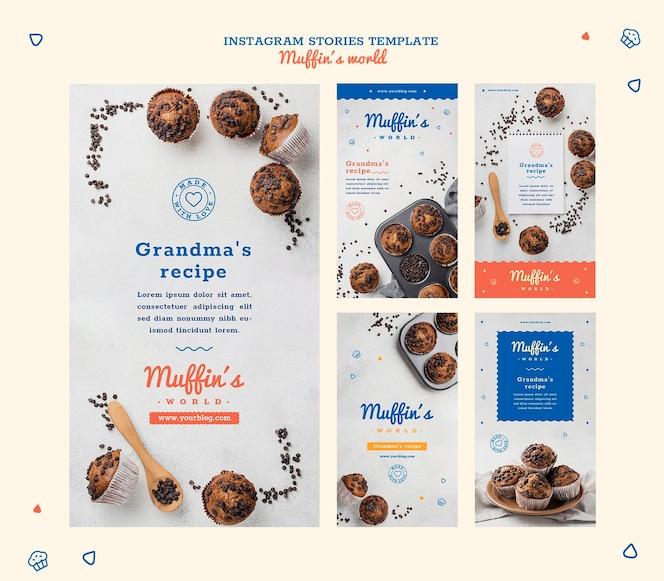 Modelo de histórias do instagram de conceito de muffins