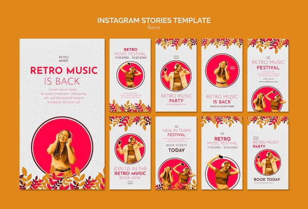 Modelo de histórias do instagram de conceito de música retrô