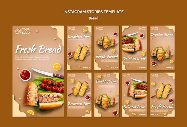 Modelo de histórias do instagram de conceito de pão