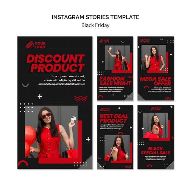 Modelo de histórias do instagram de conceito de sexta-feira negra