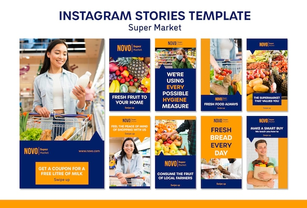 Modelo de histórias do instagram de conceito de supermercado