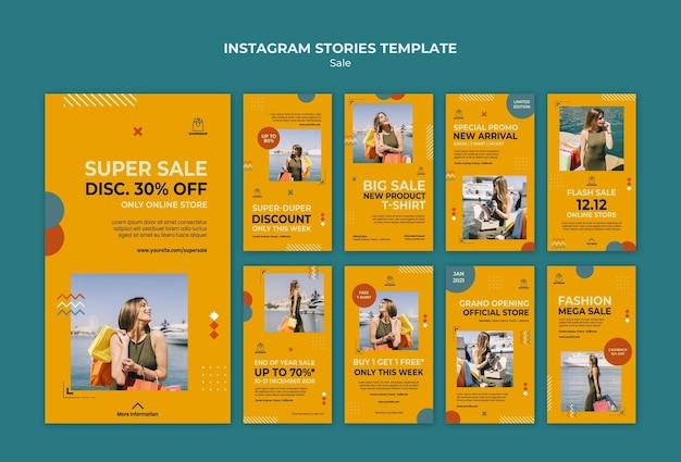 Modelo de histórias do instagram de conceito de venda