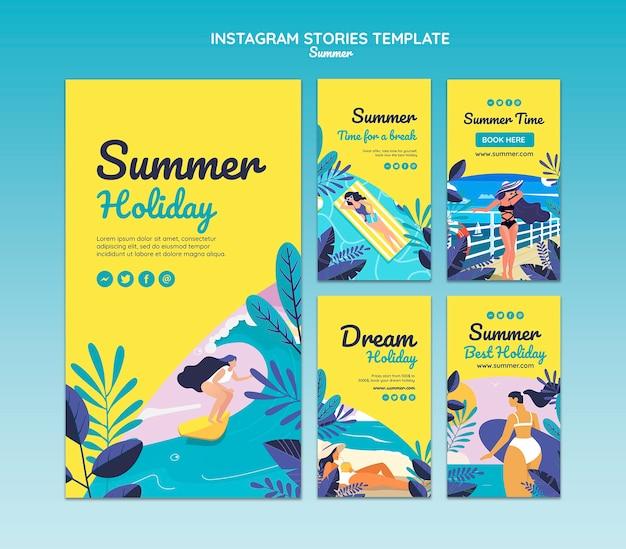 Modelo de histórias do instagram de conceito de verão