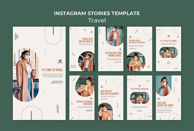 Modelo de histórias do instagram de conceito de viagem