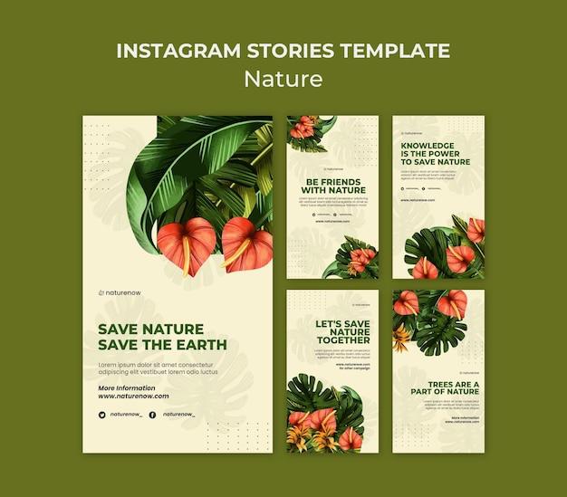 Modelo de histórias do instagram de conservação da natureza