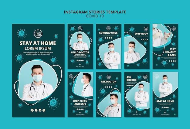 Modelo de histórias do instagram de coronavírus com foto