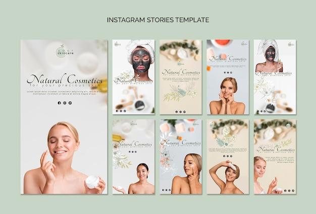 Modelo de histórias do instagram de cosméticos naturais