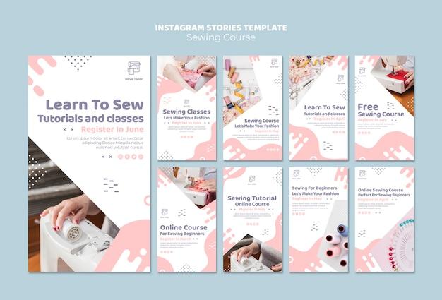 Modelo de histórias do instagram de curso de costura
