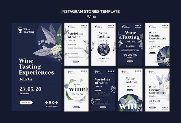 Modelo de histórias do instagram de degustação de vinhos