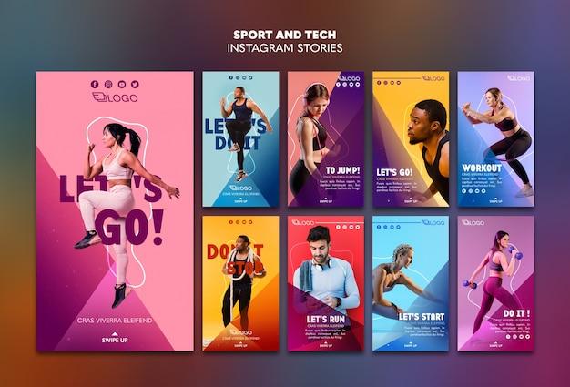Modelo de histórias do instagram de esporte e tecnologia