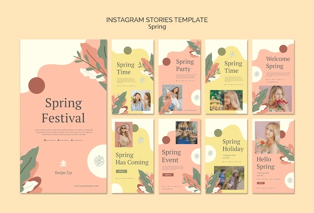 Modelo de histórias do instagram de evento de primavera