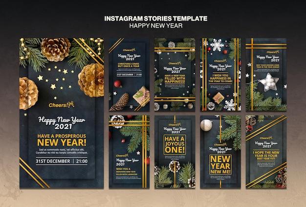 Modelo de histórias do instagram de feliz ano novo 2021