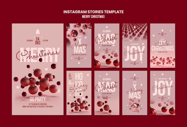 Modelo de histórias do instagram de feliz natal Psd Premium
