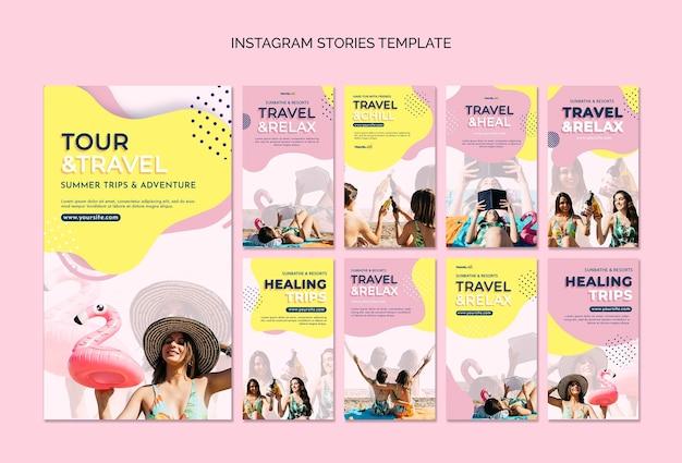 Modelo de histórias do instagram de férias