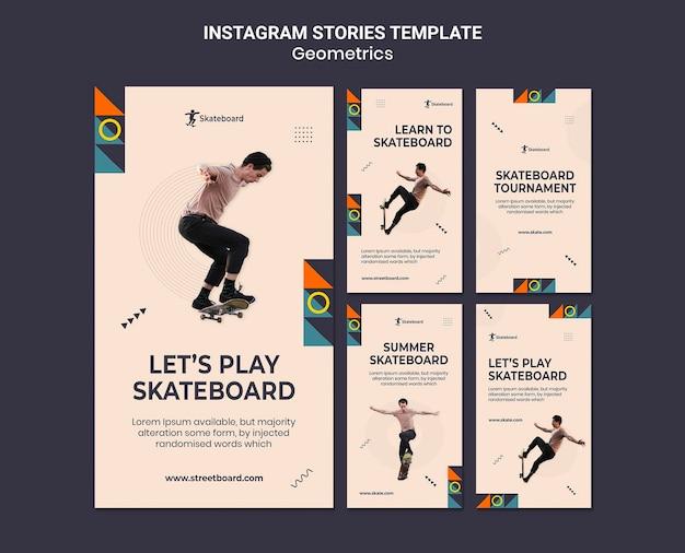 Modelo de histórias do instagram de geometria