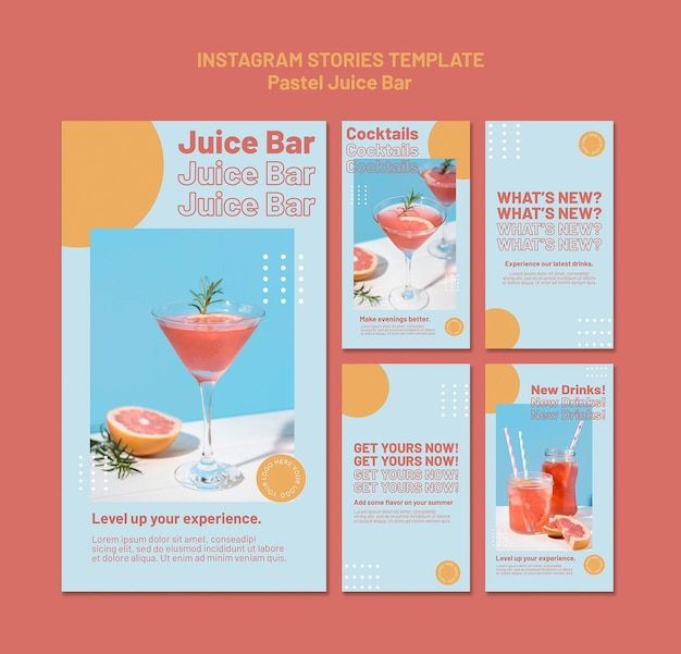 Modelo de histórias do instagram de juice bar