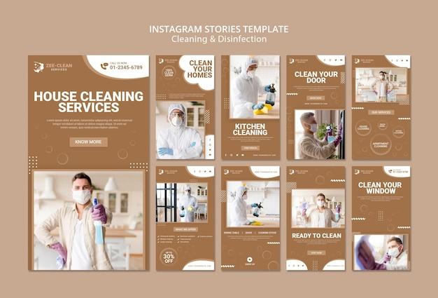 Modelo de histórias do instagram de limpeza e desinfecção